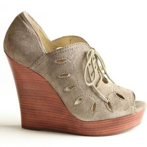 Seychelles Suede Wedges Cutout Lace-Up
